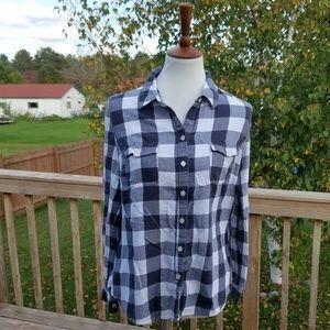 Old Navy Original White&Grey Plaid Flannel Shirt